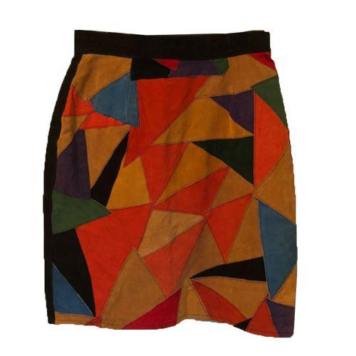 Etsy Vintage 90s Suede Patchwork Miniskirt