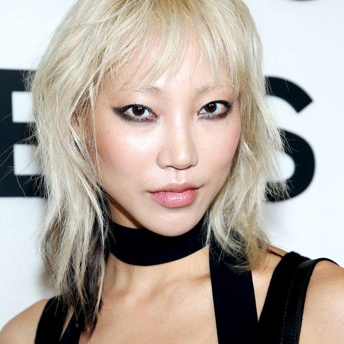 Soo Joo Park choppy platinum hair with bangs