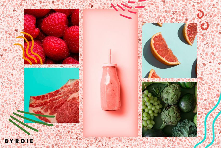 Photo composite of raspberries, raw meat, blood oranges, green veggies and a pink smoothie on a pink terrazzo background.