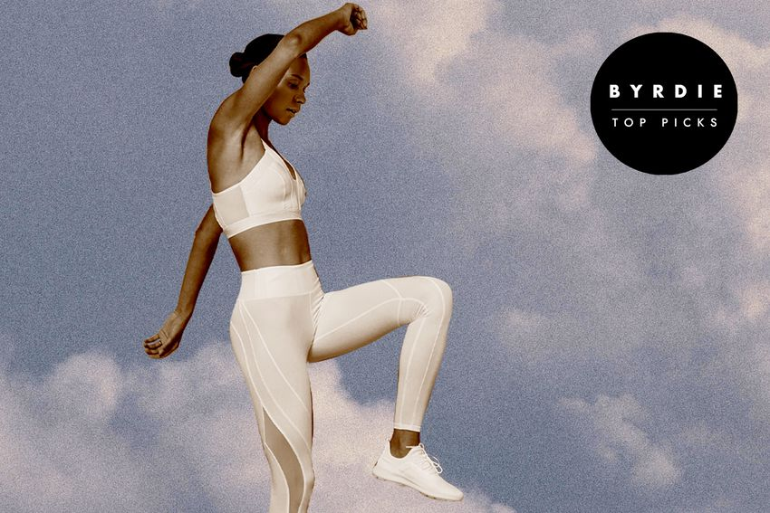 Photo composite of woman in athletic wear jumping