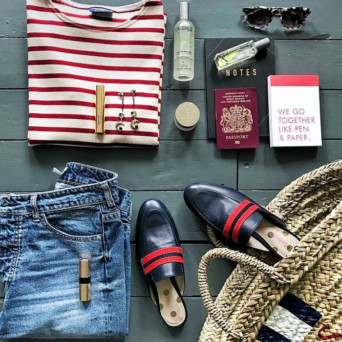 best travel makeup kits: travel items including a passport and sunglasses