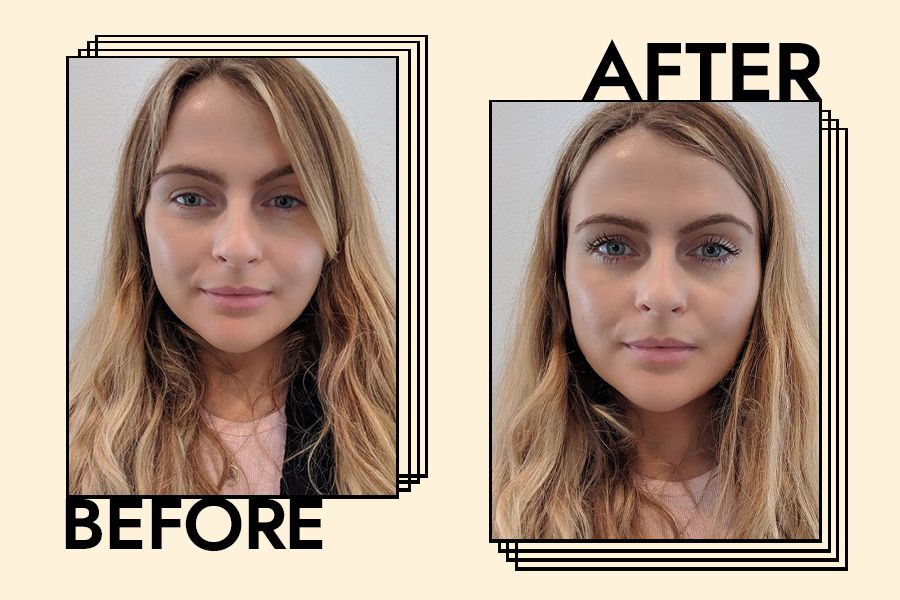 Amy Lawrenson's Before and After with the mascara