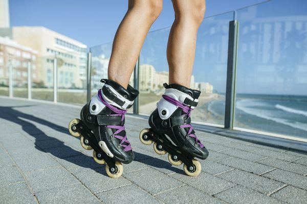 Woman wearing roller blades