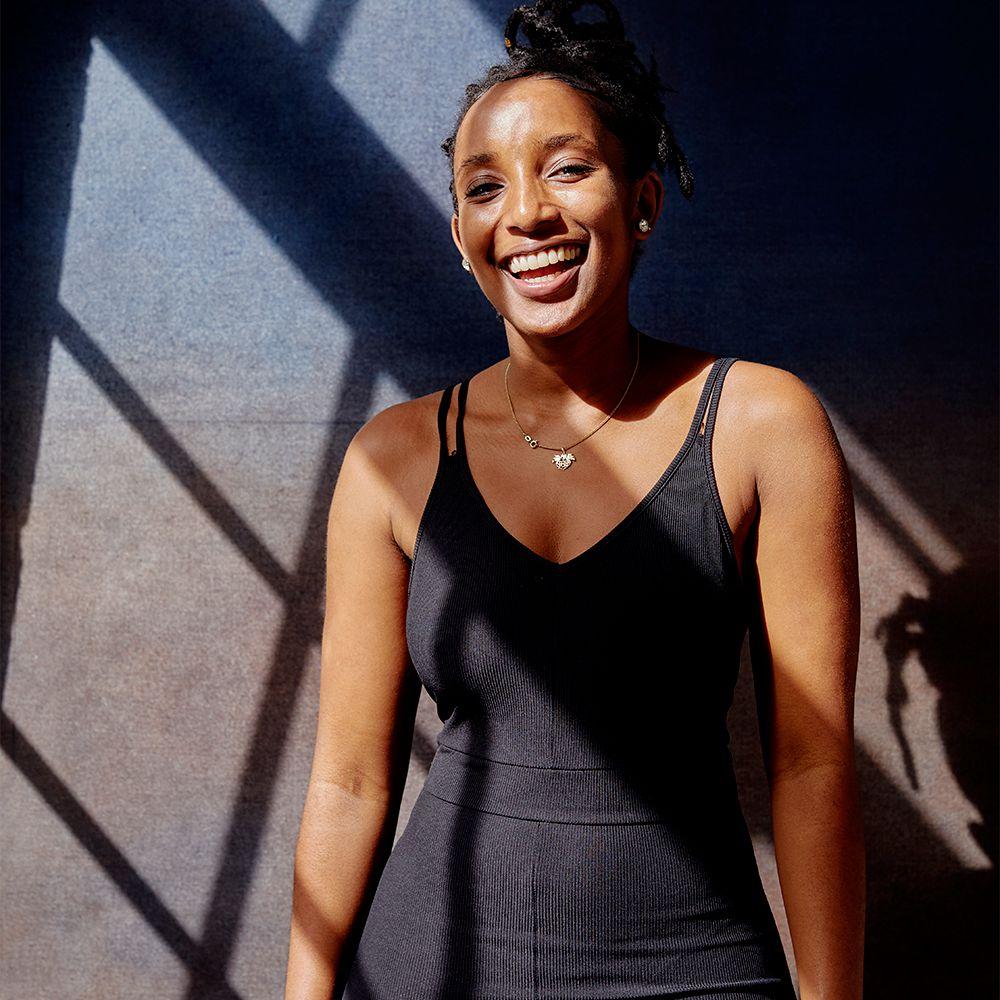 portrait of happy black femme