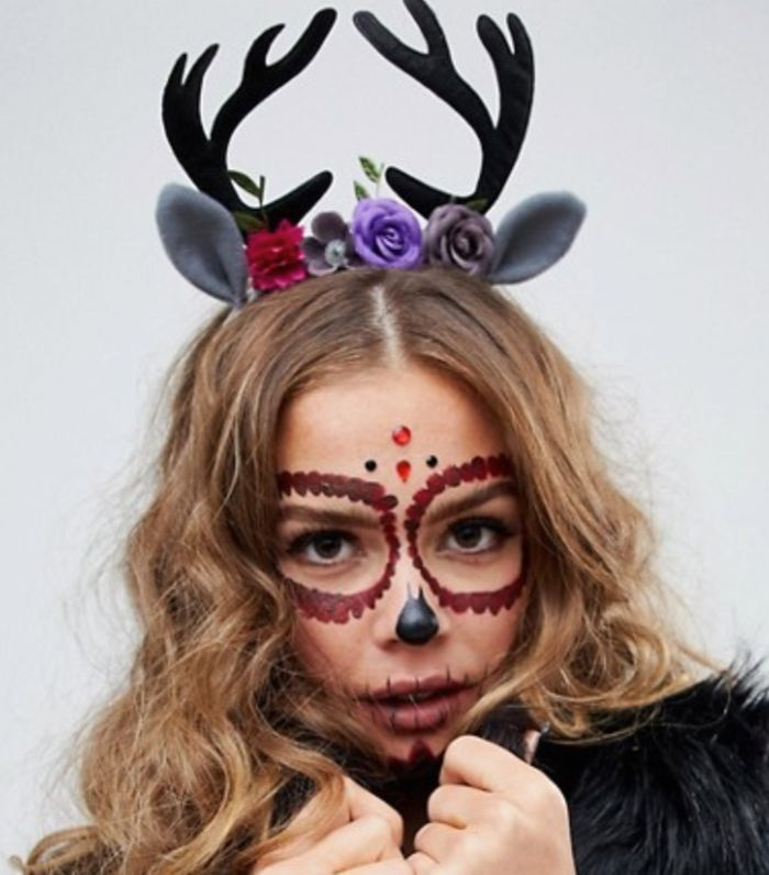 HALLOWEEN headband with floral and novelty deer antlers in black
