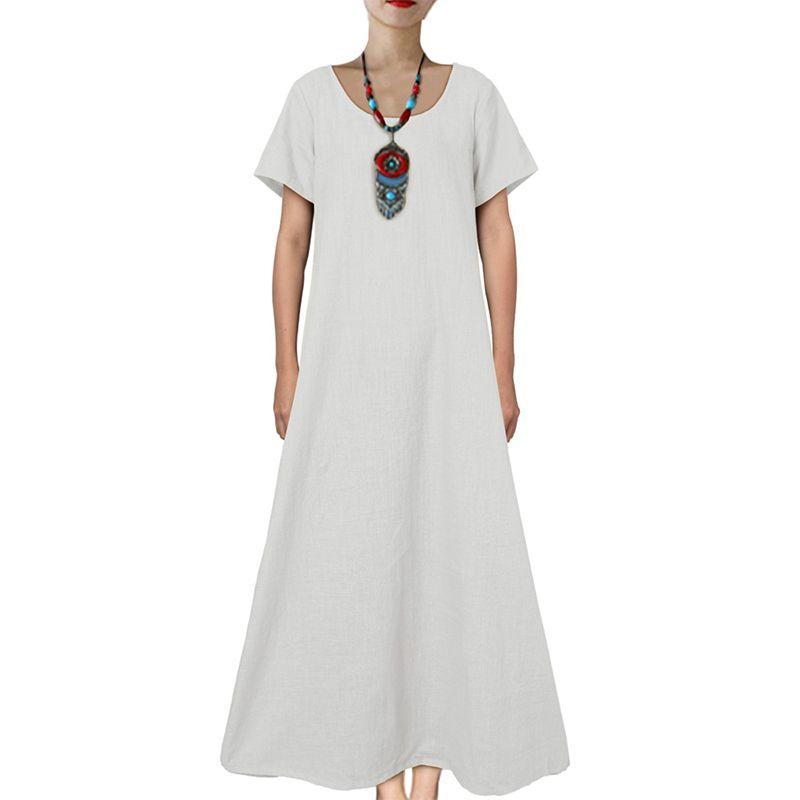 Solid Loose Long Maxi Dress Cotton Caftan
