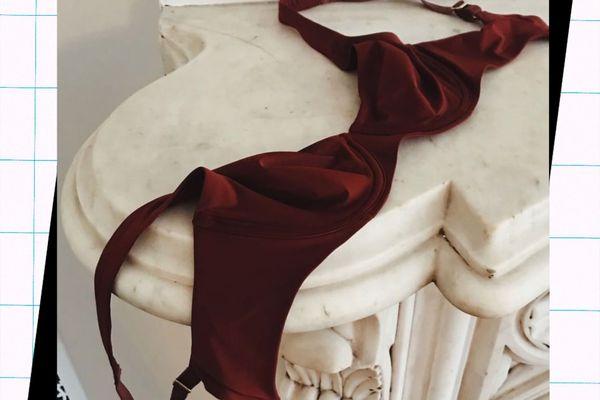 bra on marble fireplace