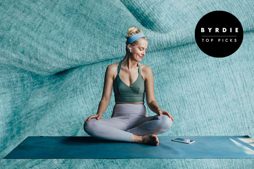 Photo composite of a woman on a yoga mat.