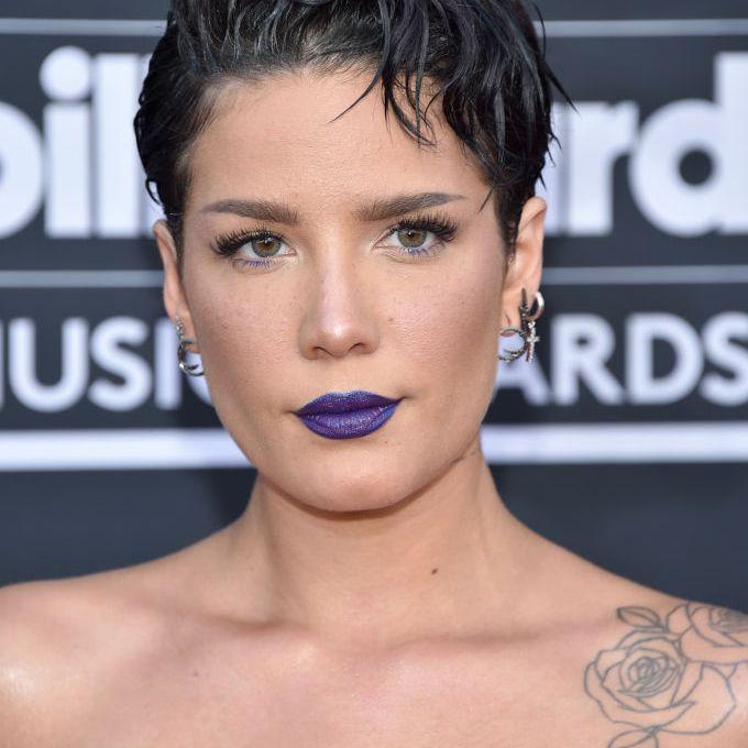 Halsey wet pixie with blue lipstick