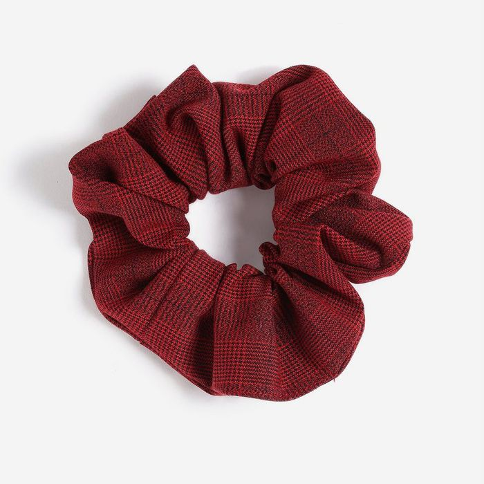 Topshop Red Check Scrunchie