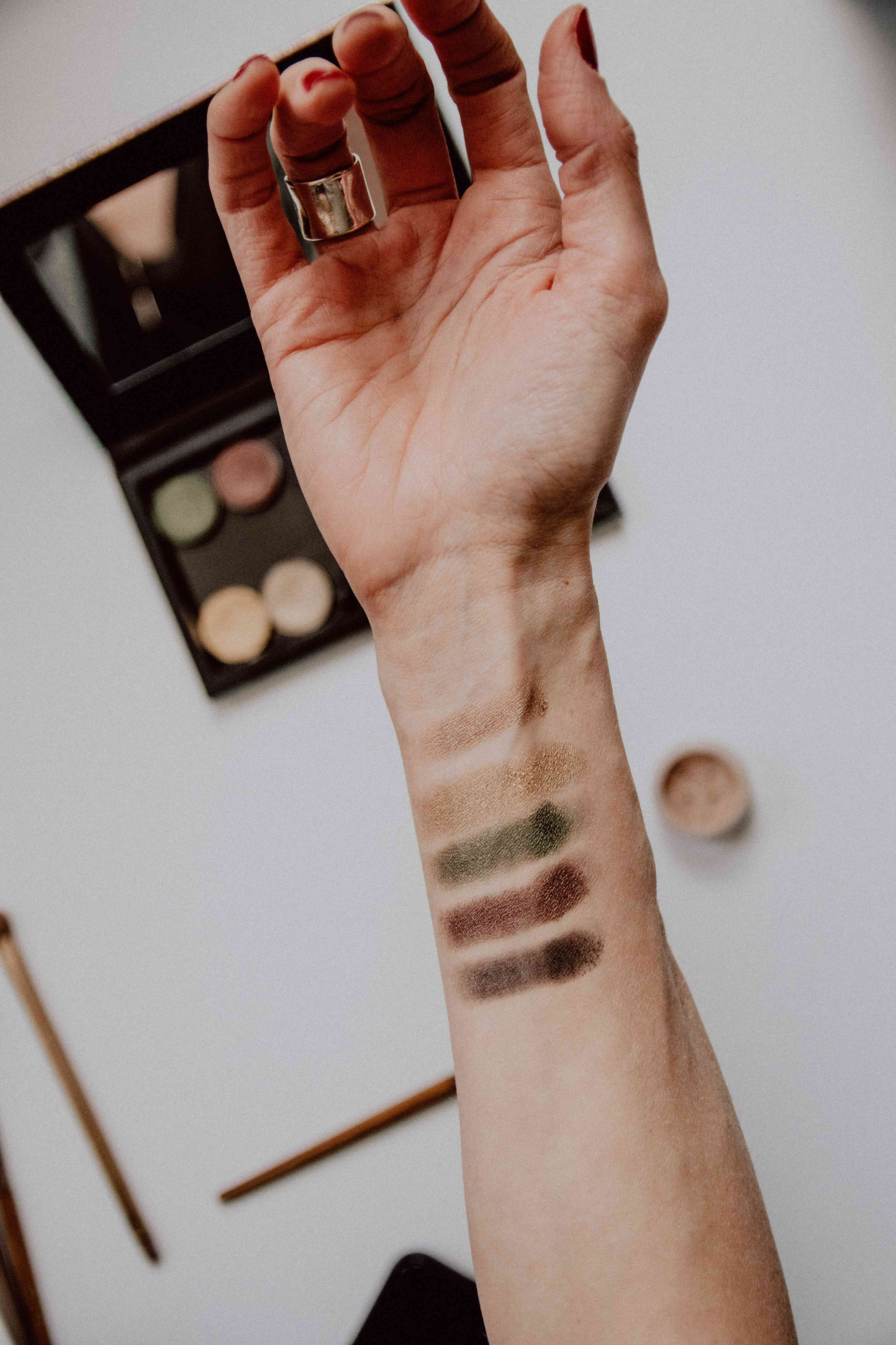 eyeshadow swatches on forearm