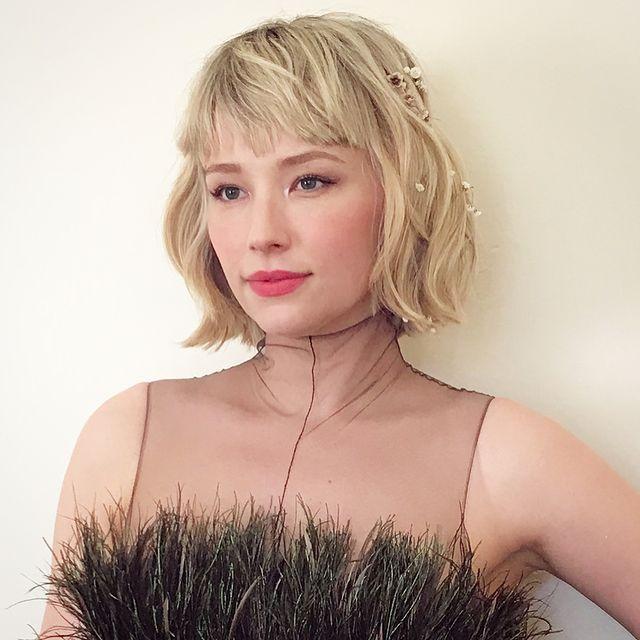Haley Bennett textured blonde bob with bangs