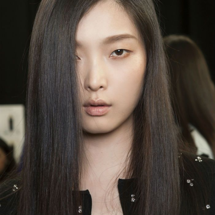 Asian model with long straight hair
