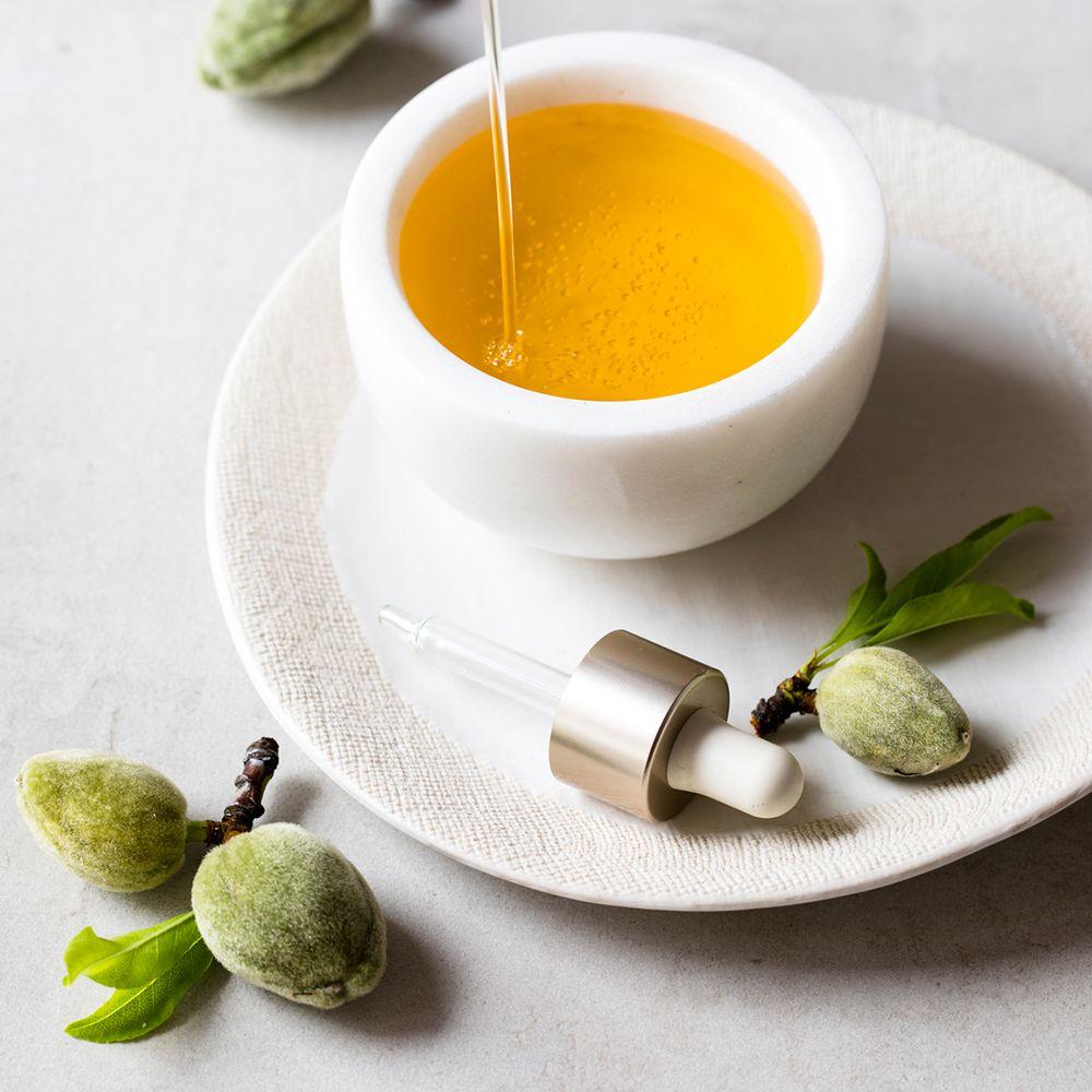 closeup almond oil in dish