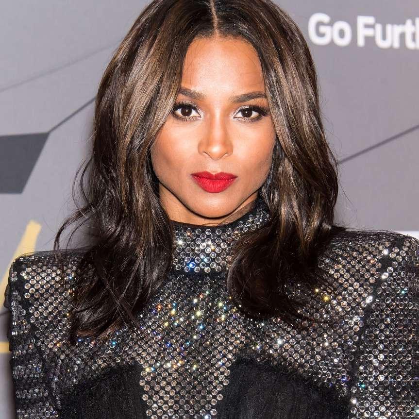 Ciara center-parted mid-length haircut