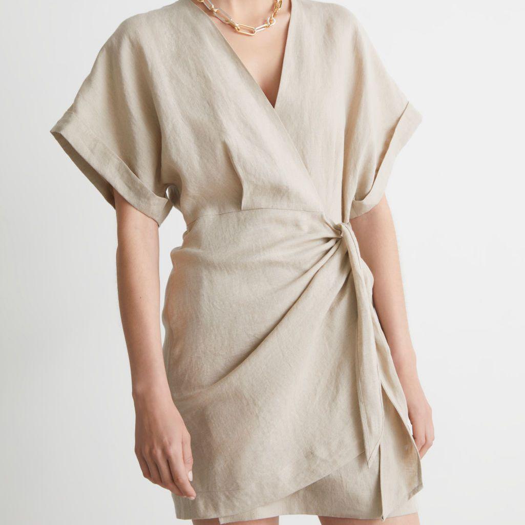 & Other Stories Linen Wrap Mini Dress