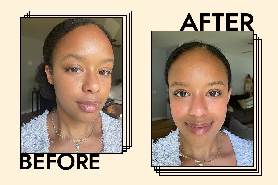 Writer before and after trying Flower Beauty's Blush Bomb Color Drops