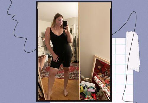 Skims Sculpting Bodysuit Mid-Thigh on Olivia Muenter