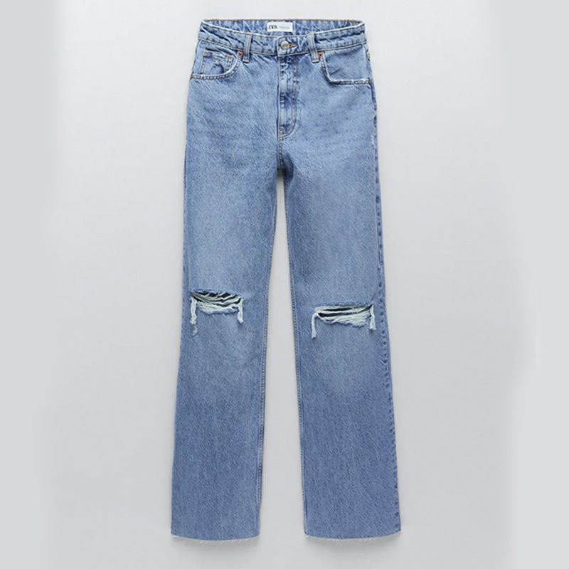 Wide Leg Full Length Ripped Jeans