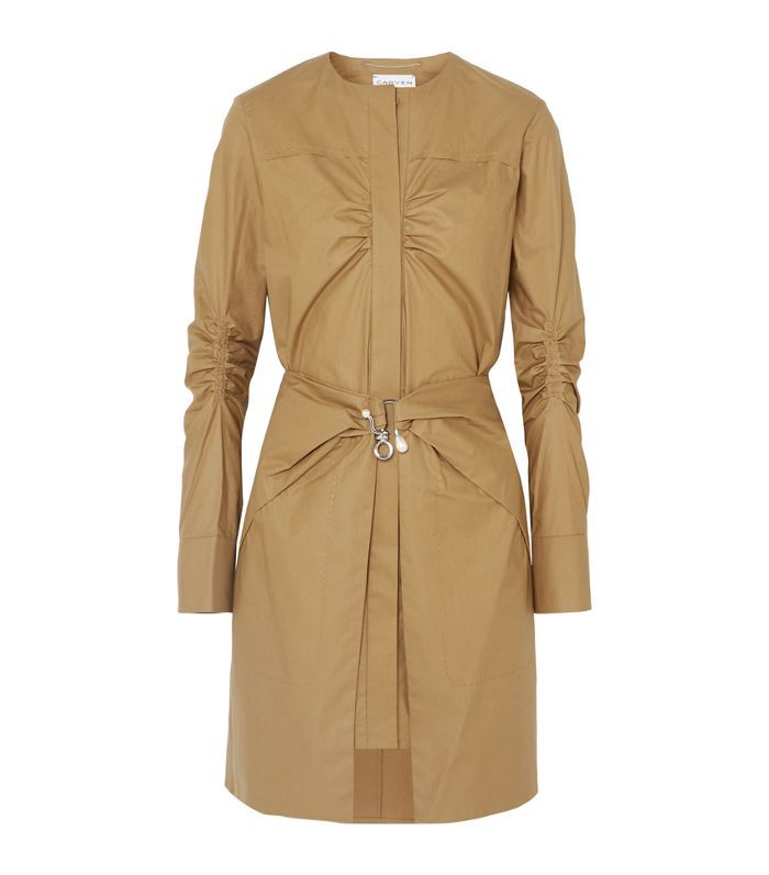 Pearl-embellished Ruched Cotton Mini Dress