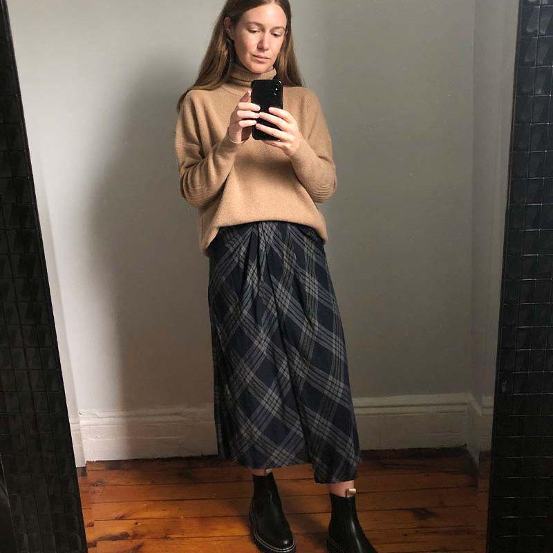 turtleneck and skirt