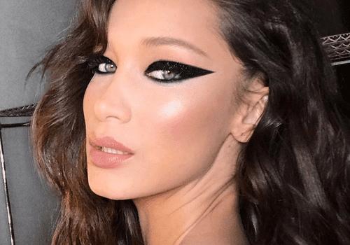 bella hadid wearing bold eyeliner look
