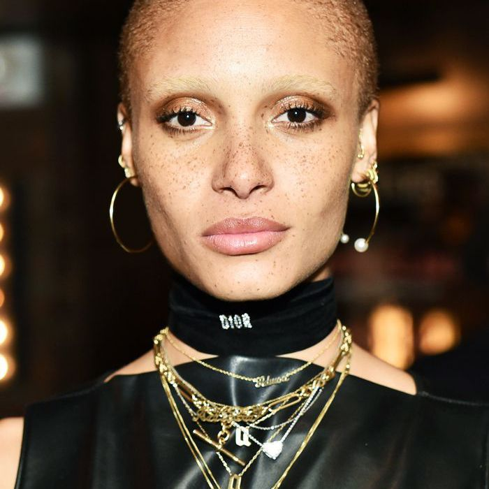 buzz-cut-women: model Adwoa Aboah with a buzz cut