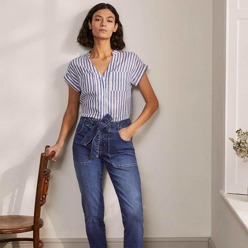 Tie Waist Patch Pocket Jeans