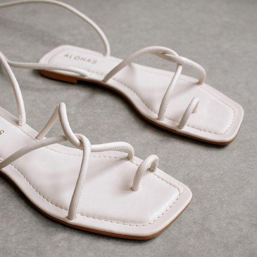 Lace It Up Ivory Flat Sandal ($115)