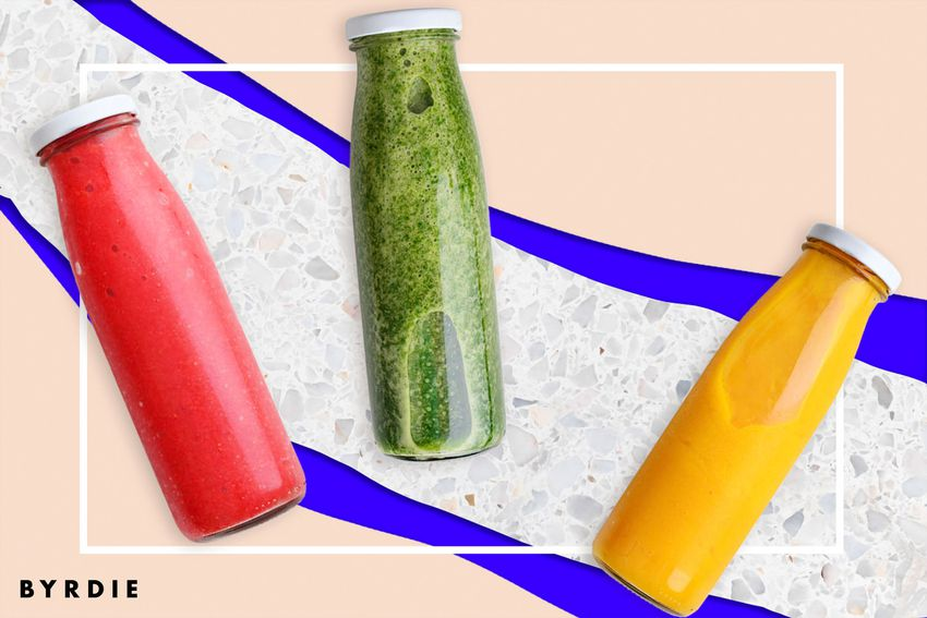 Photo composite of three different juices, one red, one green and one yellow.