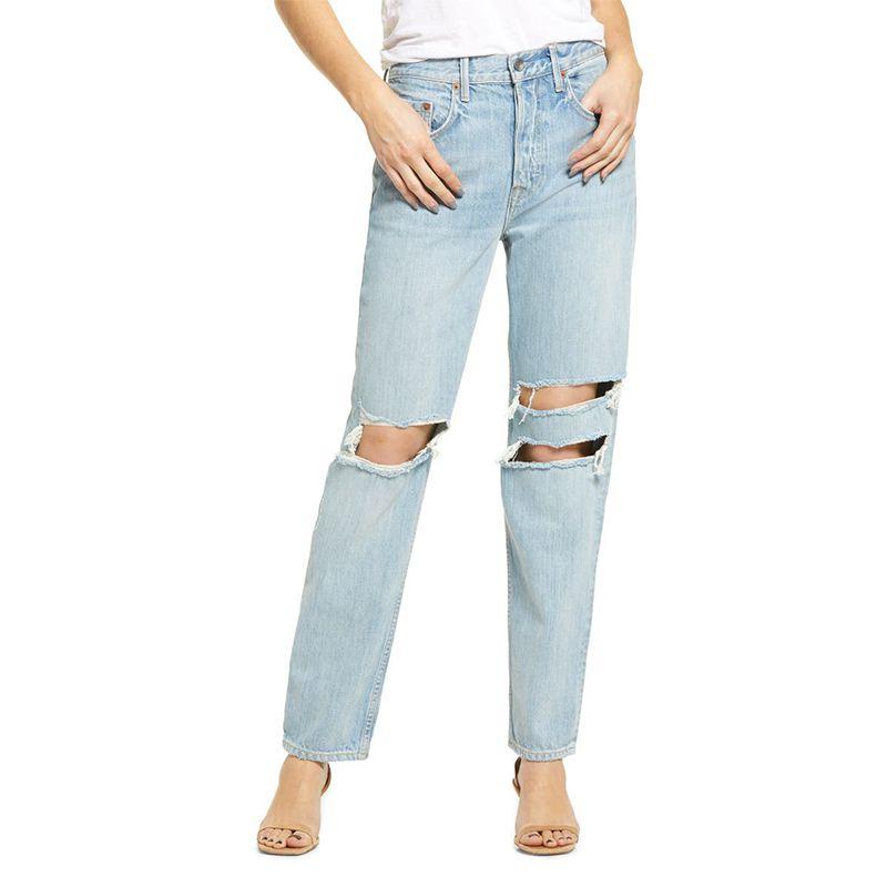Isabeli Ripped High Waist Organic Cotton Straight Leg Jeans