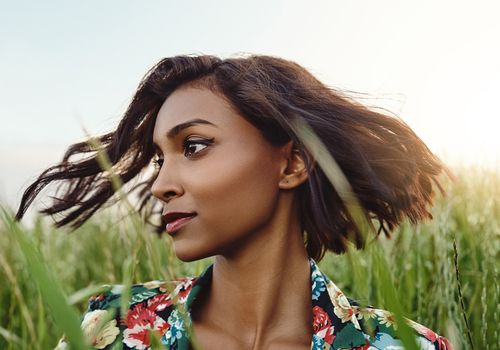 hair in the summer breeze