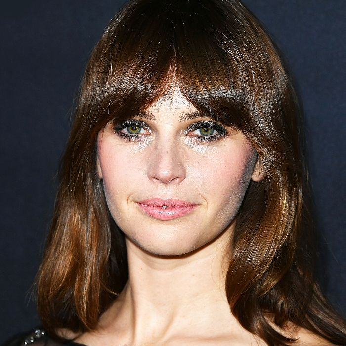Felicity Jones shoulder-length with thick bangs