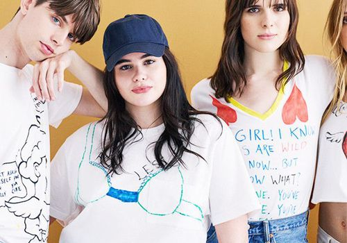 urban outfitters models against yellow background