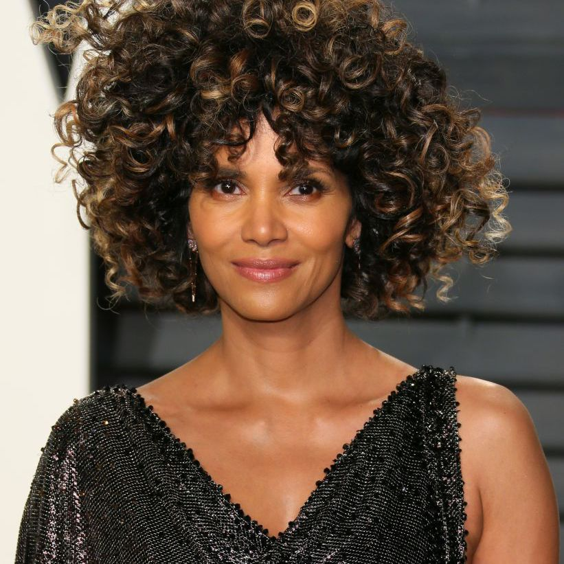 Halle Berry curly bob with curtain bangs