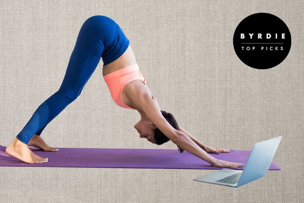 Photo composite of a woman doing yoga on a mat with her laptop out.