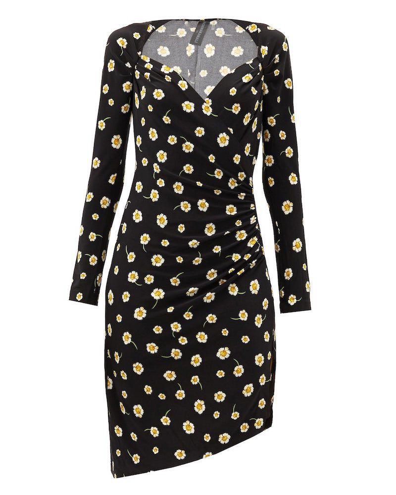 Norma Kamali Sweetheart-Neckline Floral-Print Jersey Dress