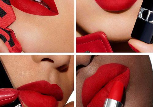 Dior women wearing red lipstick