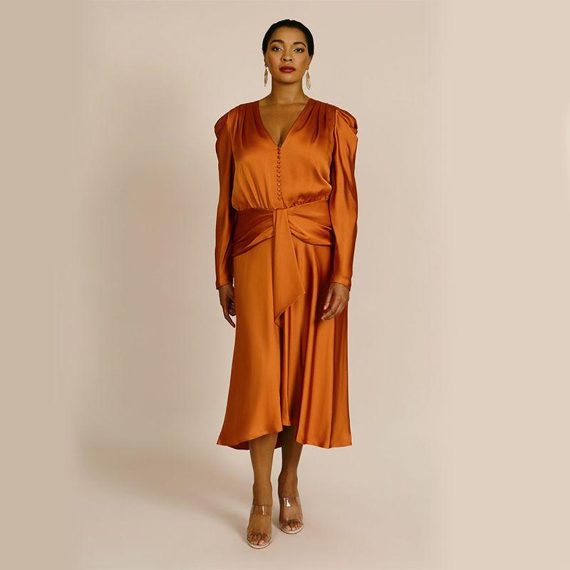 Annalise Satin Puff Sleeve Midi Dress