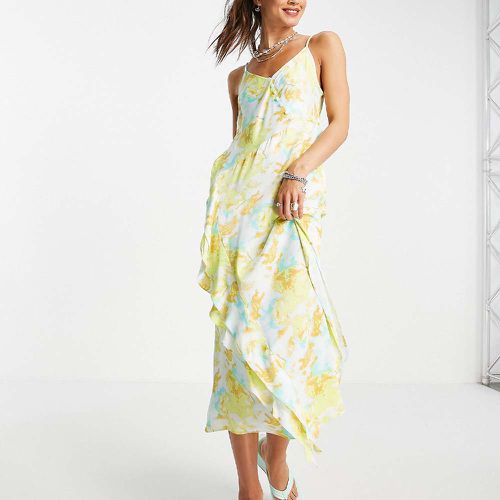 Abstract Floral Satin Slip Dress ($93)