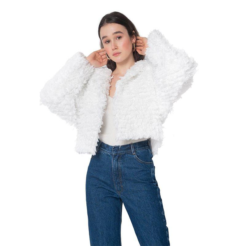 White Denim Fur Jacket
