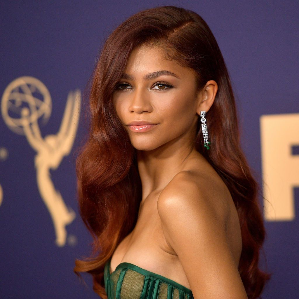 Zendaya with side-parted long soft waves