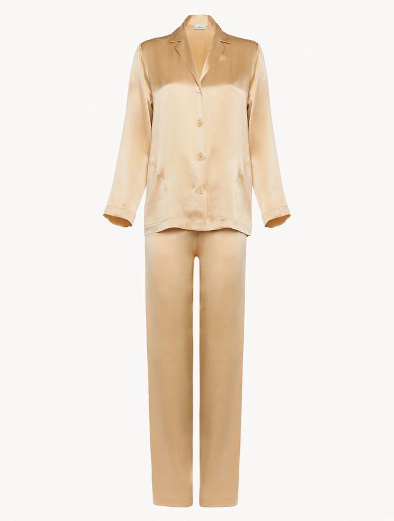 La Perla Silk Pajamas in Beige