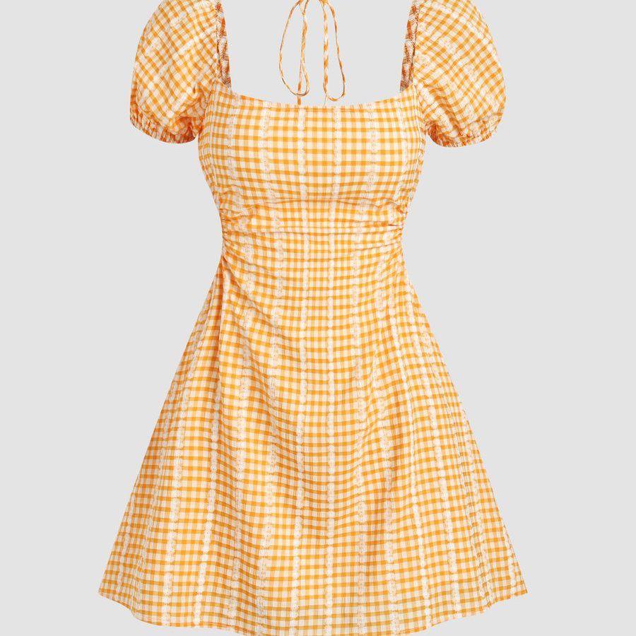 Cider Check Pattern Backless Dress