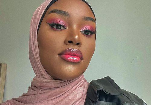 muslim woman with pink makeup
