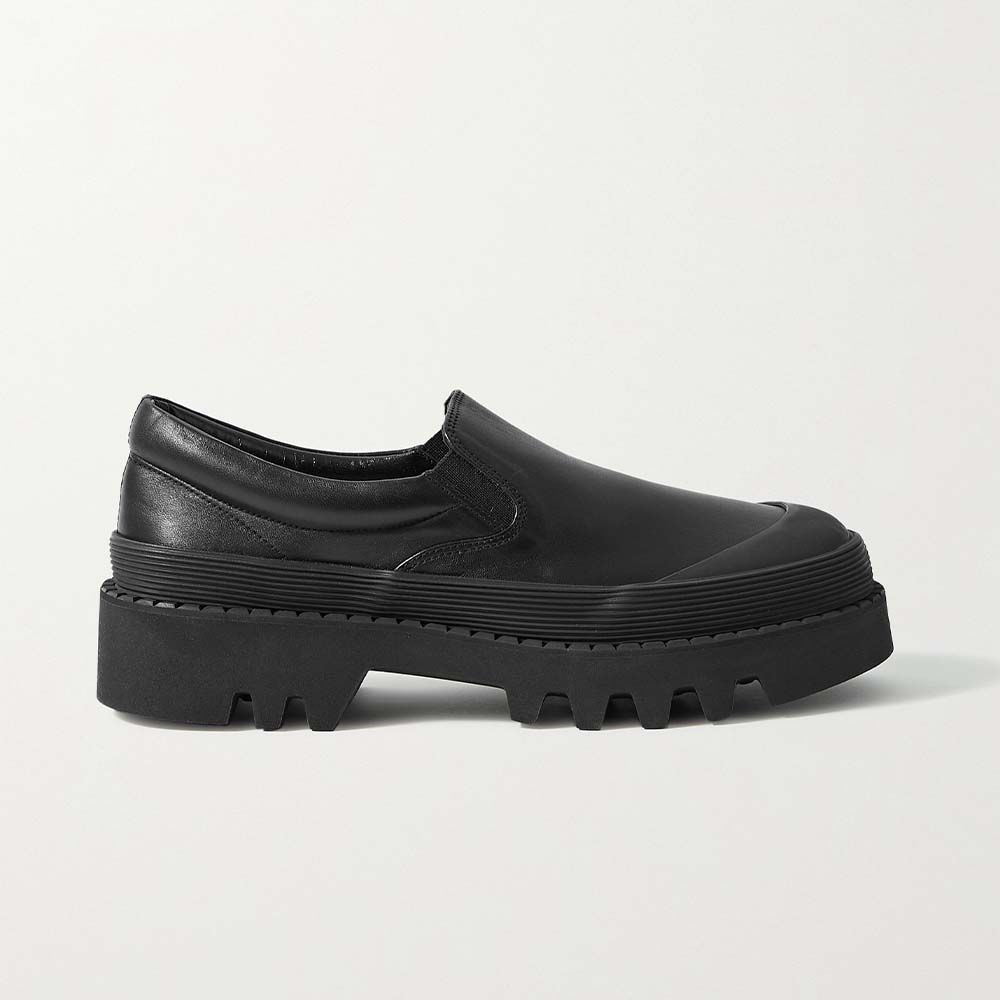 City Rubber-Trimmed Leather Loafers