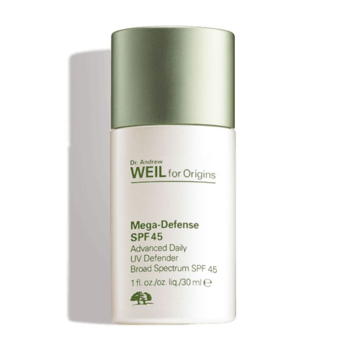 brown patches on skin: Dr. Andrew Weil for Origins Mega-Defense SPF 45 Advanced Daily UV Defender