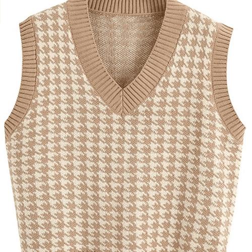 Sdencin Houndstooth Pattern Knit Sweater Vest