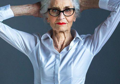 Stylish elderly woman