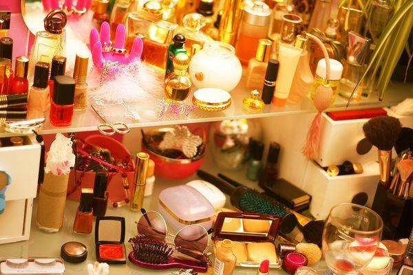 makeup on vanity